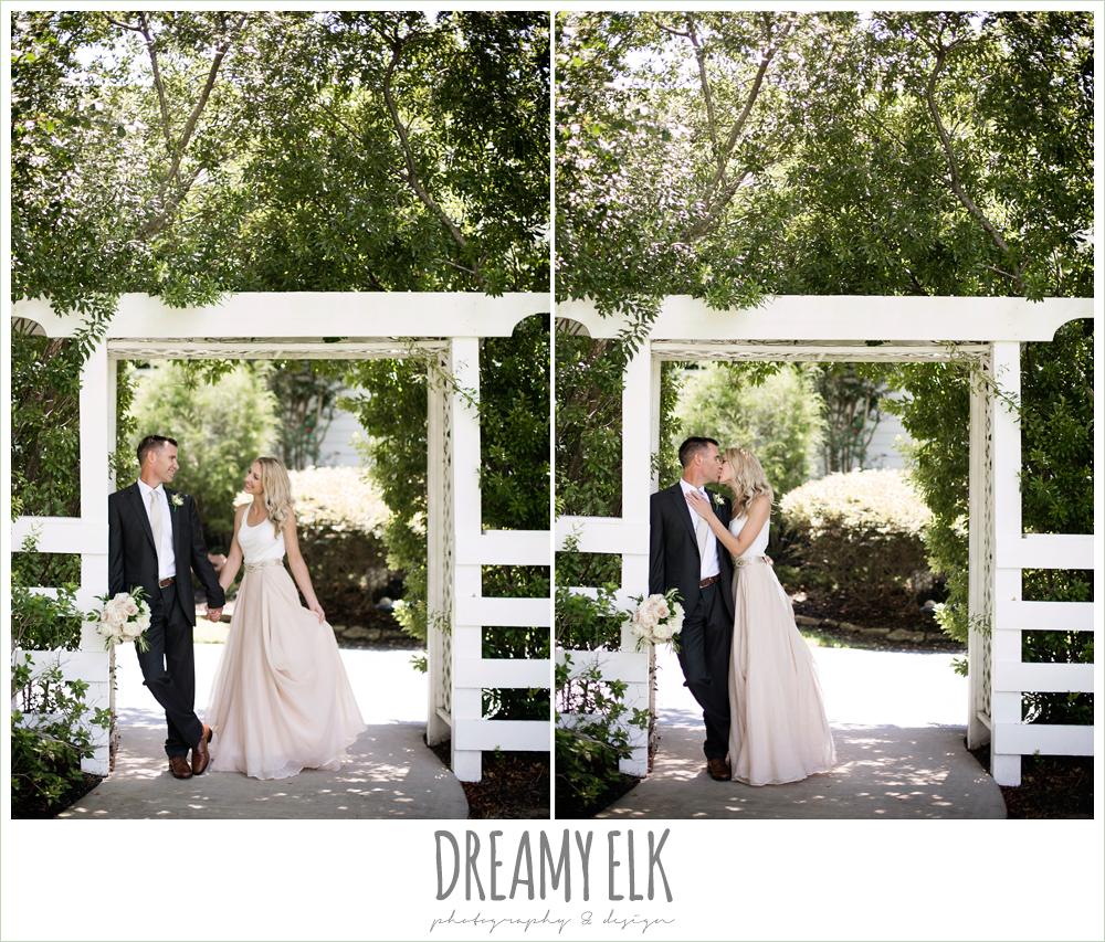 outdoor bride and groom photo, carol hannah kensington halter and blush skirt,