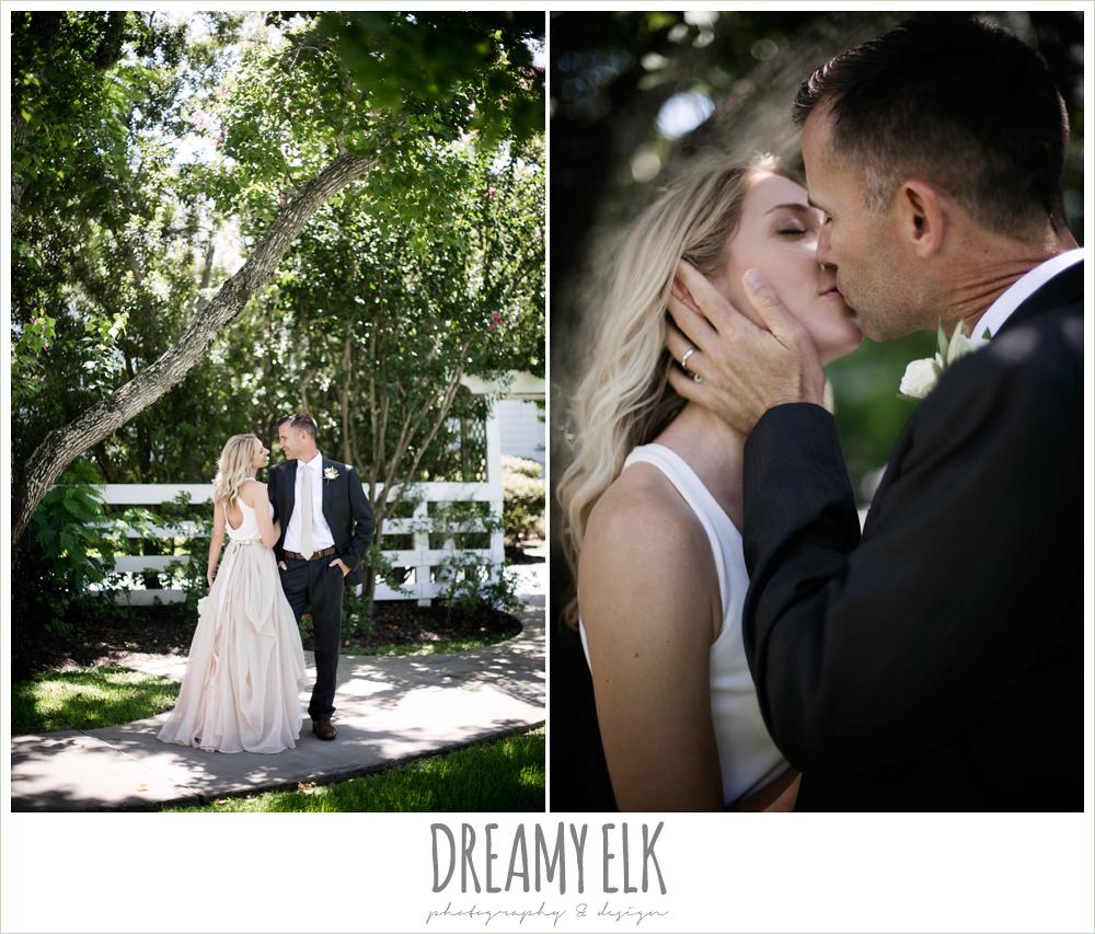 outdoor bride and groom photo, hugo boss groom's suit, carol hannah kensington halter and blush skirt,