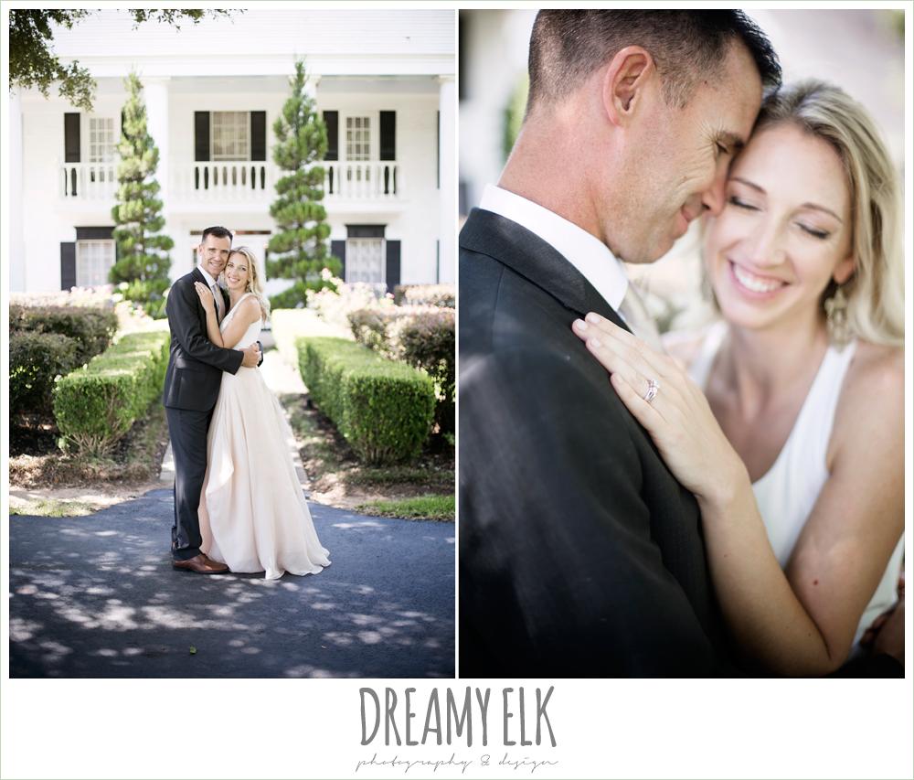 outdoor bride and groom photo, carol hannah kensington halter and blush skirt, july summer morning wedding, ashelynn manor, magnolia, texas {dreamy elk photography and design}