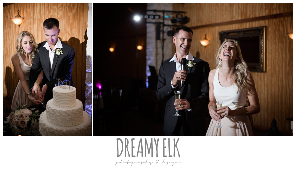 hatch cake topper, lisa barcelona cakes, bride and groom cutting the cake, three tier white wedding cake, groom speaking at wedding, july summer morning wedding, ashelynn manor, magnolia, texas {dreamy elk photography and design} photo