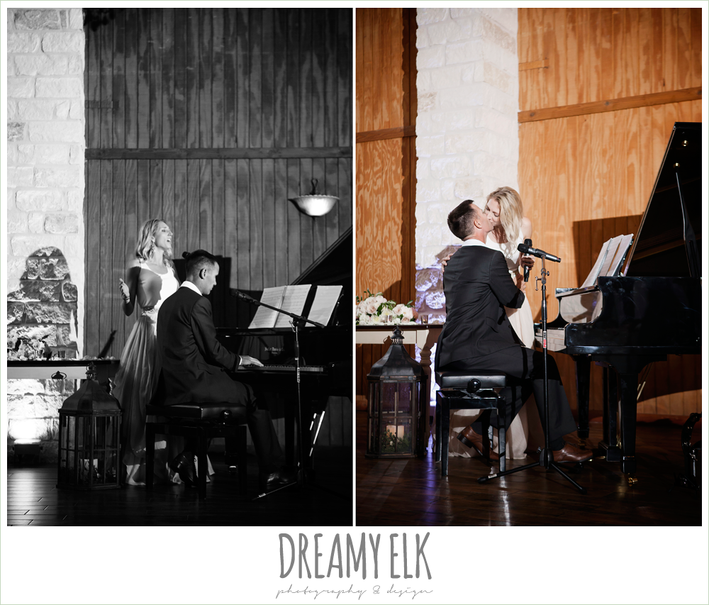 houston piano company, bride and groom singing duet and playing piano at wedding reception, july summer morning wedding, ashelynn manor, magnolia, texas {dreamy elk photography and design} photo