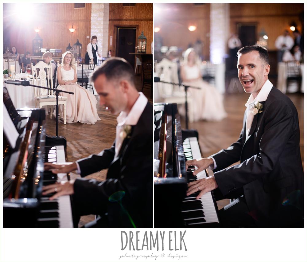 houston piano company, groom playing piano at wedding reception, july summer morning wedding, ashelynn manor, magnolia, texas {dreamy elk photography and design} photo