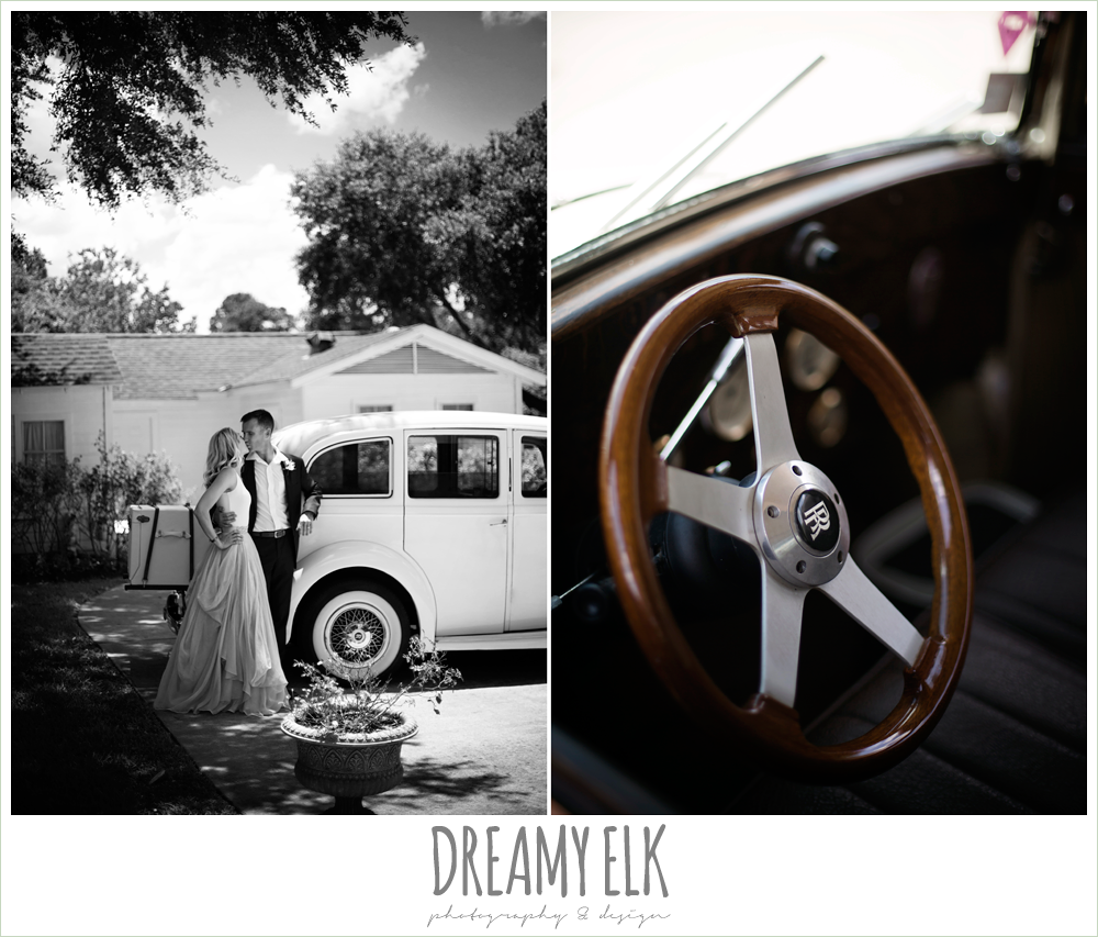 Monarch British Limousines, bride and groom with rolls royce wedding getaway car, july summer morning wedding, ashelynn manor, magnolia, texas {dreamy elk photography and design} photo