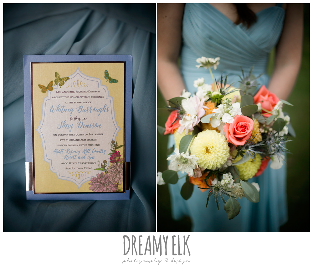 my urban invites wedding invitation with butterflies and flowers, Plans n' Petals wedding bouquet, bill levkoff bridesmaid dress in glacier blue, colorful outdoor sunday morning brunch wedding, hyatt hill country club, san antonio wedding photo {dreamy elk photography and design}