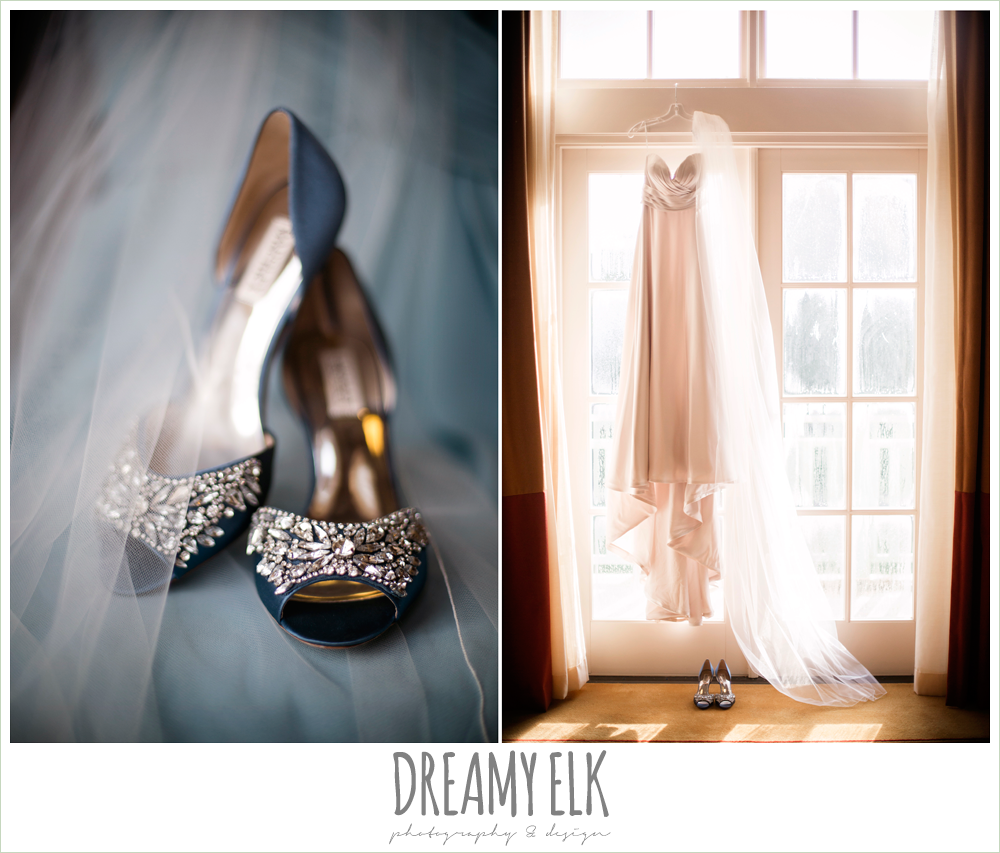 Badgley Mishka bridal shoes, sweetheart strapless justin alexander wedding dress in sand color, blue satin wedding shoes, wedding dress hanging in window, colorful outdoor sunday morning brunch wedding, hyatt hill country club, san antonio wedding photo {dreamy elk photography and design}
