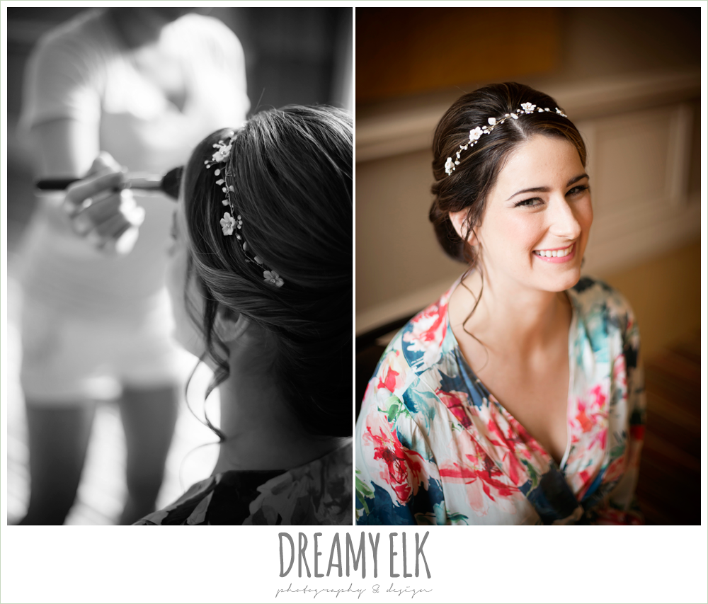 Madame Hair and Makeup, bride getting makeup done, colorful outdoor sunday morning brunch wedding, hyatt hill country club, san antonio wedding photo {dreamy elk photography and design}