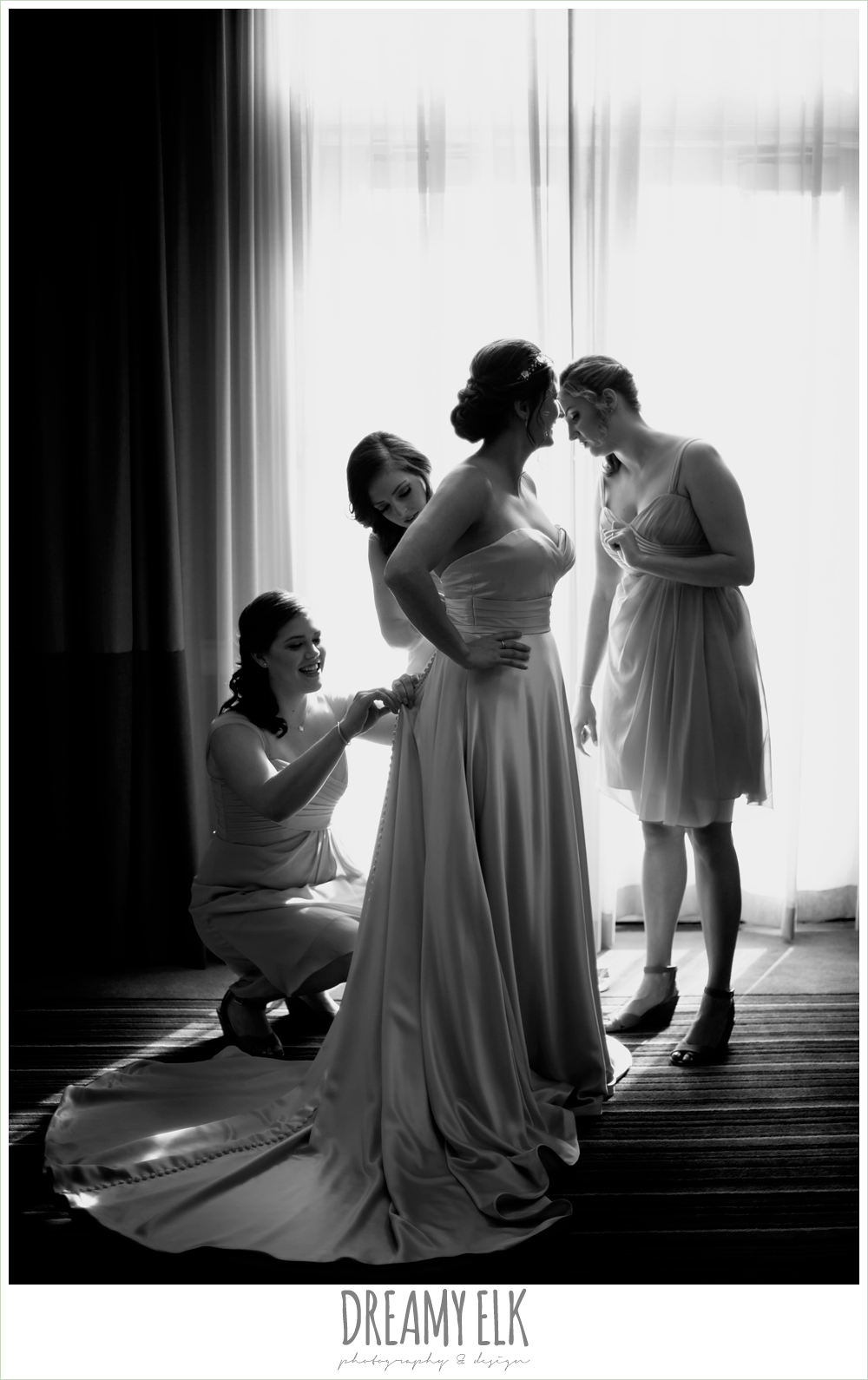 sweetheart strapless justin alexander wedding dress in sand color, silhouette, bride getting dressed with bridesmaids, colorful outdoor sunday morning brunch wedding, hyatt hill country club, san antonio wedding photo {dreamy elk photography and design}