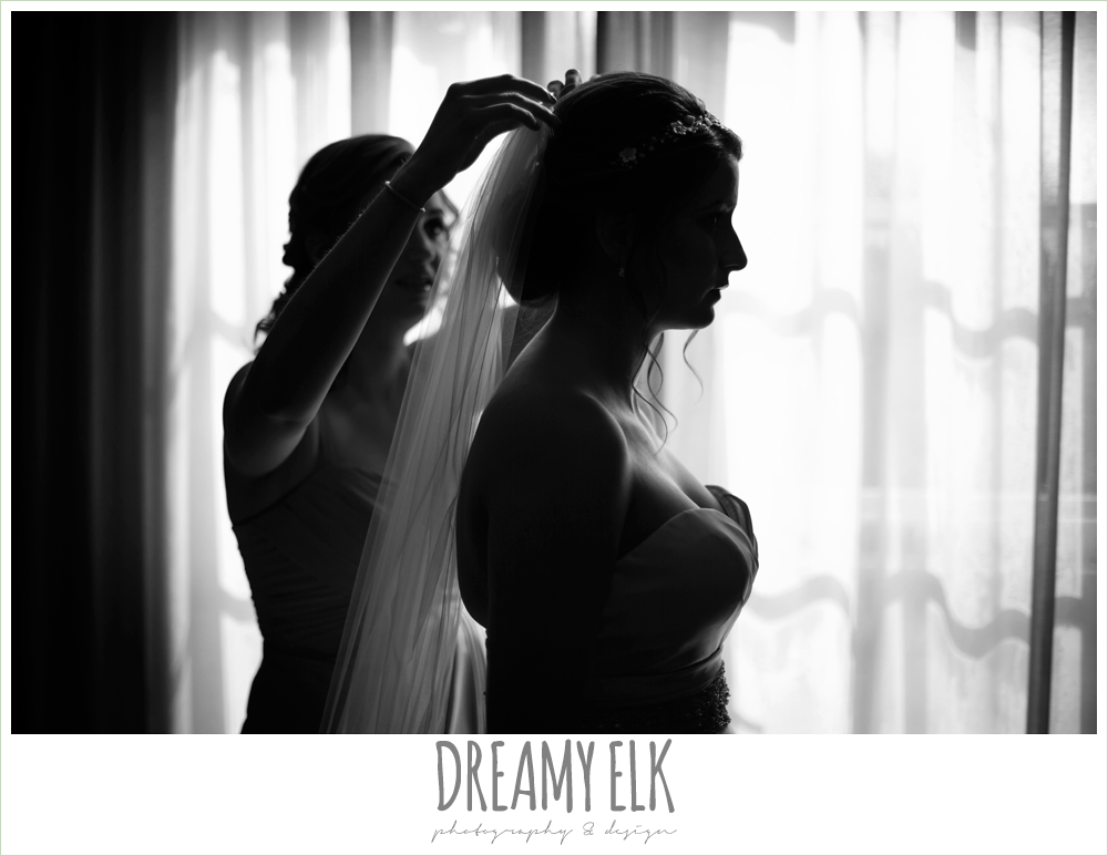silhouette, bridesmaid putting in veil, colorful outdoor sunday morning brunch wedding, hyatt hill country club, san antonio wedding photo {dreamy elk photography and design}