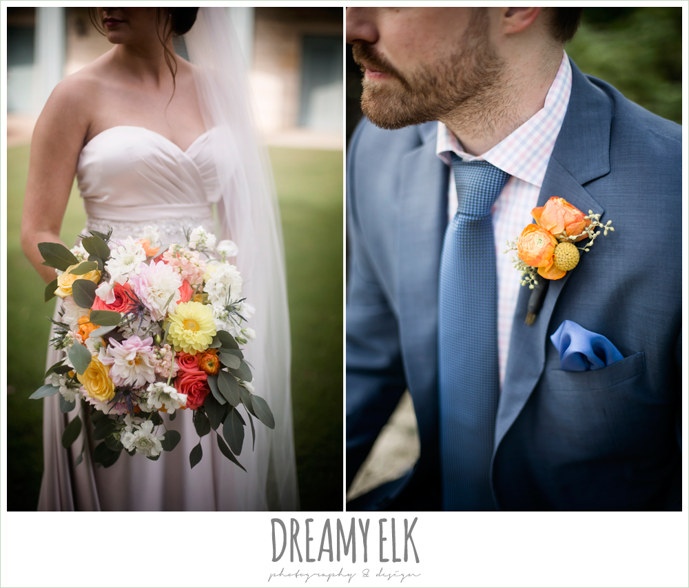Plans n' Petals wedding bouquet, groom in men's wearhouse navy suit, sweetheart strapless justin alexander wedding dress in sand color, colorful outdoor sunday morning brunch wedding, hyatt hill country club, san antonio wedding photo {dreamy elk photography and design}