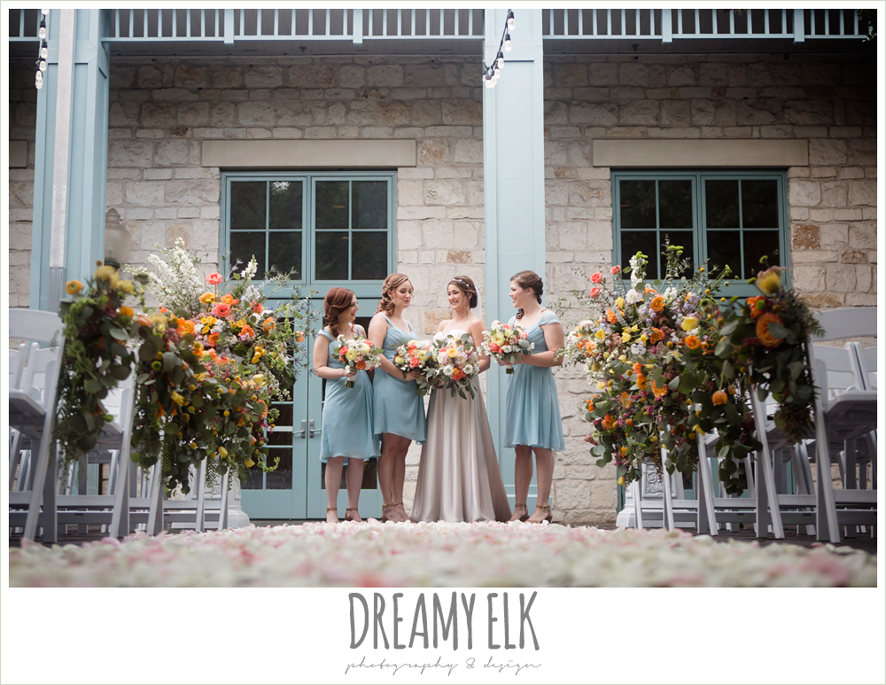 Plans n' Petals wedding bouquet, bill levkoff bridesmaid dress in glacier blue, sweetheart strapless justin alexander wedding dress in sand color, bride and bridesmaids, ceremony, colorful outdoor sunday morning brunch wedding, hyatt hill country club, san antonio wedding photo {dreamy elk photography and design}