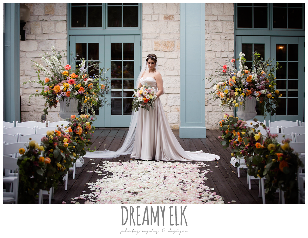 Plans n' Petals wedding bouquet, sweetheart strapless justin alexander wedding dress in sand color, colorful outdoor sunday morning brunch wedding, hyatt hill country club, san antonio wedding photo {dreamy elk photography and design}