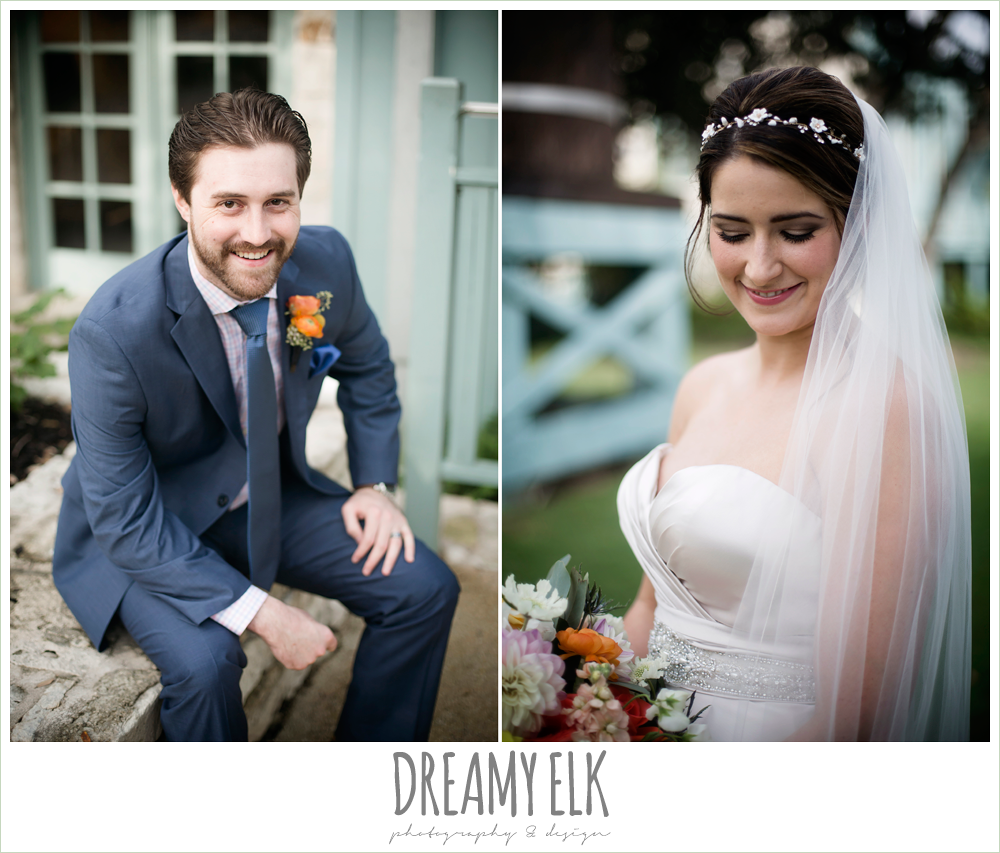groom in men's wearhouse navy suit pink shirt and navy tie, sweetheart strapless justin alexander wedding dress in sand color, bride, groom, colorful outdoor sunday morning brunch wedding, hyatt hill country club, san antonio wedding photo {dreamy elk photography and design}