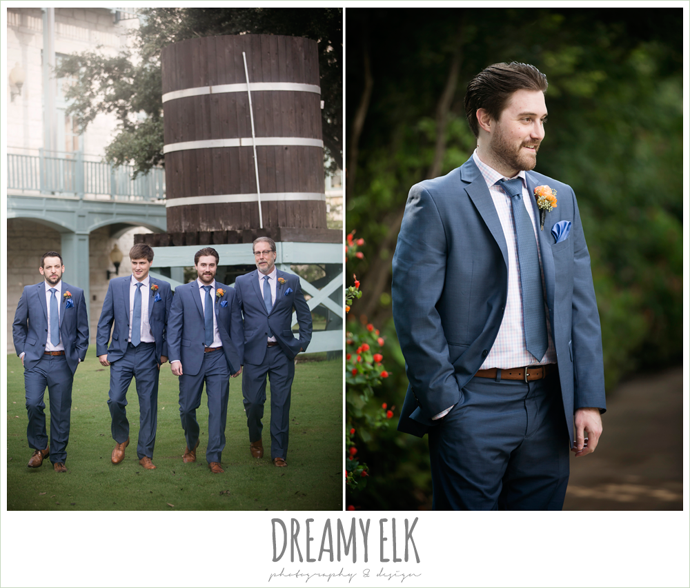 groom in men's wearhouse navy suit pink shirt and navy tie, groom and groomsmen, colorful outdoor sunday morning brunch wedding, hyatt hill country club, san antonio wedding photo {dreamy elk photography and design}