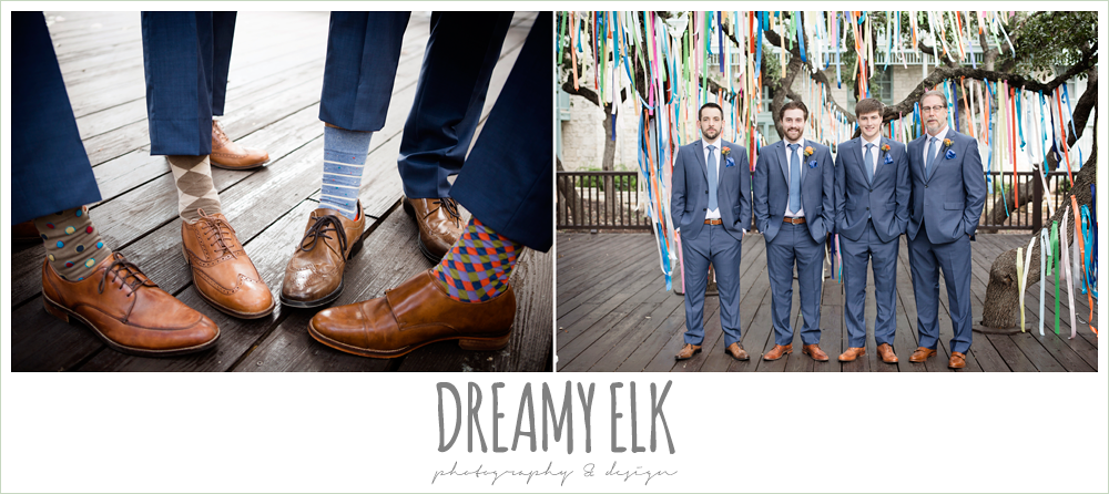 colorful streamers in trees ceremony decorations, groom in men's wearhouse navy suit pink shirt and navy tie, groom and groomsmen's colorful socks and brown shoes, colorful outdoor sunday morning brunch wedding, hyatt hill country club, san antonio wedding photo {dreamy elk photography and design}