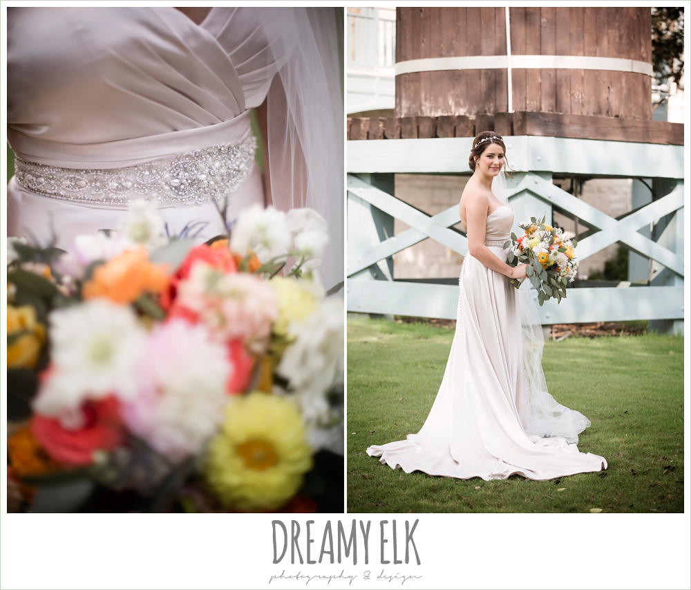 Plans n' Petals wedding bouquet, sweetheart strapless justin alexander wedding dress in sand color, bride, colorful outdoor sunday morning brunch wedding, hyatt hill country club, san antonio wedding photo {dreamy elk photography and design}