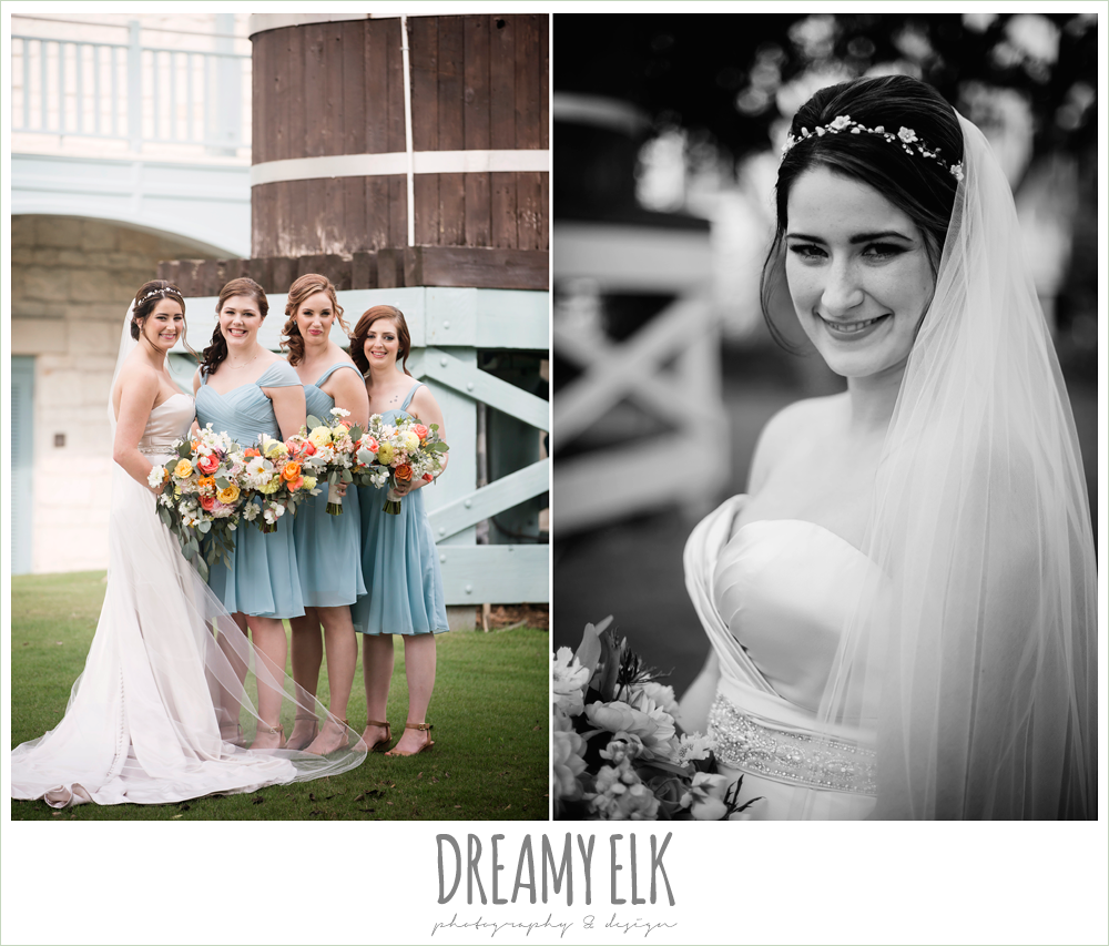 Plans n' Petals wedding bouquet, bill levkoff bridesmaid dress in glacier blue, sweetheart strapless justin alexander wedding dress in sand color, bride and bridesmaids, colorful outdoor sunday morning brunch wedding, hyatt hill country club, san antonio wedding photo {dreamy elk photography and design}