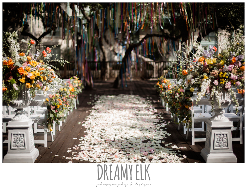 colorful streamers in trees ceremony decorations, Plans n' Petals wedding bouquet, colorful outdoor sunday morning brunch wedding, hyatt hill country club, san antonio wedding photo {dreamy elk photography and design}