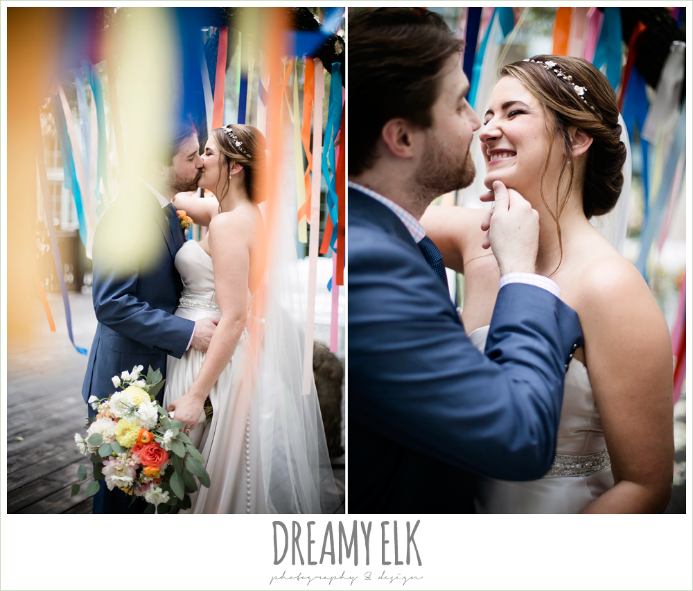 bride and groom portraits, colorful streamers in trees ceremony decorations, sweetheart strapless justin alexander wedding dress in sand color, colorful outdoor sunday morning brunch wedding, hyatt hill country club, san antonio wedding photo {dreamy elk photography and design}