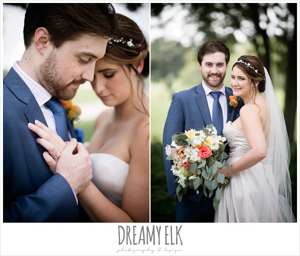 bride and groom portraits, sweetheart strapless justin alexander wedding dress in sand color, colorful outdoor sunday morning brunch wedding, hyatt hill country club, san antonio wedding photo {dreamy elk photography and design}
