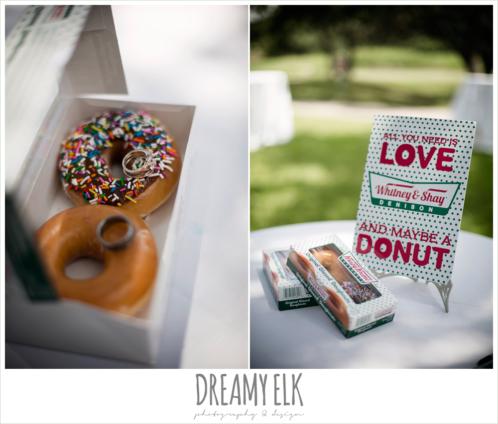 krispy creme donuts, wedding reception favors, colorful outdoor sunday morning brunch wedding, hyatt hill country club, san antonio wedding photo {dreamy elk photography and design}