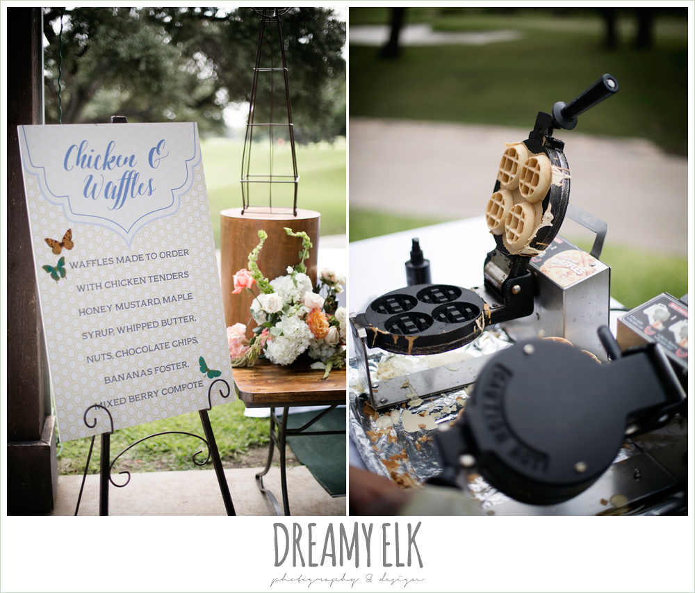 reception food, chicken and waffles, colorful outdoor sunday morning brunch wedding, hyatt hill country club, san antonio wedding photo {dreamy elk photography and design}