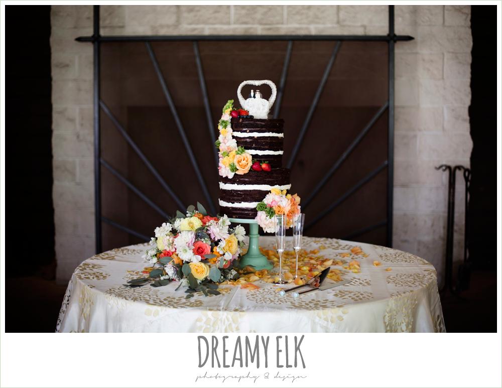 chocolate naked wedding cake, colorful outdoor sunday morning brunch wedding, hyatt hill country club, san antonio wedding photo {dreamy elk photography and design}