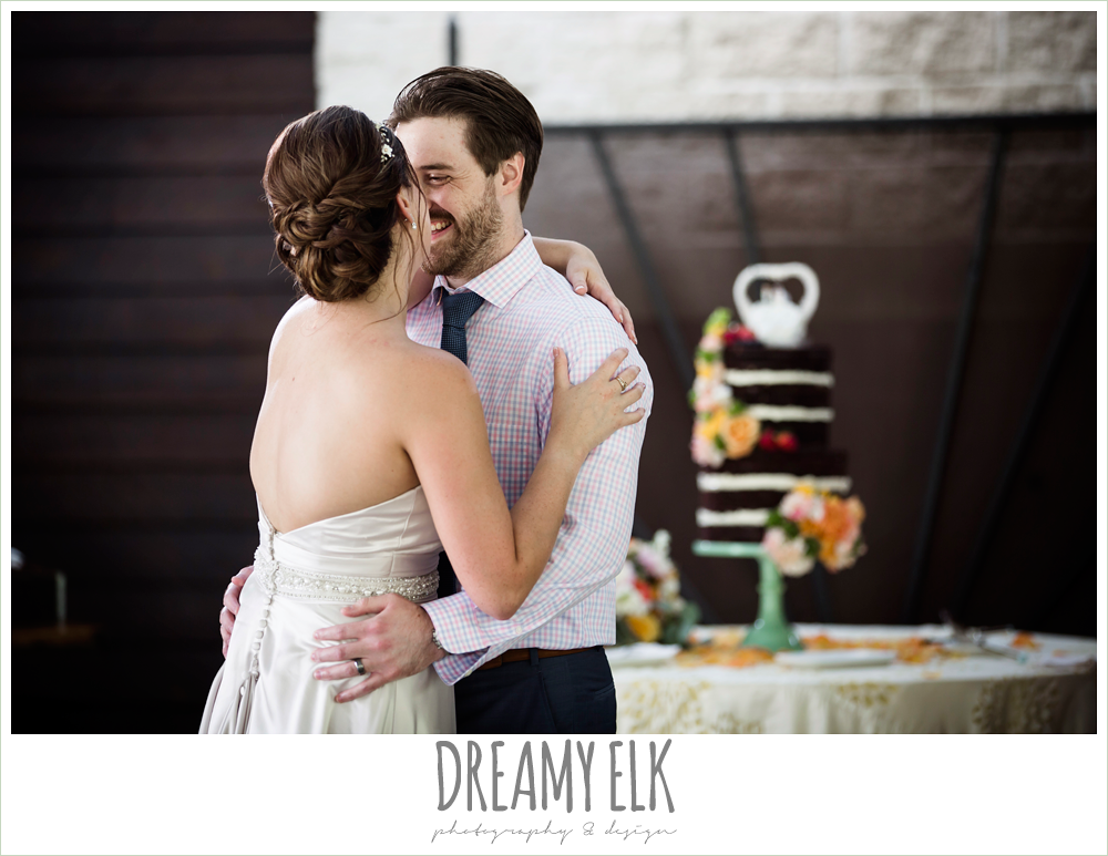 bride and groom first dance, colorful outdoor sunday morning brunch wedding, hyatt hill country club, san antonio wedding photo {dreamy elk photography and design}