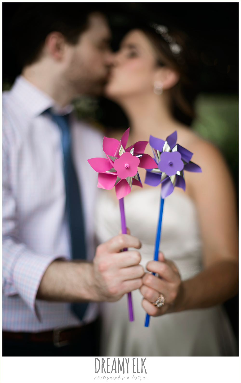 bride and groom with pinwheels, colorful outdoor sunday morning brunch wedding, hyatt hill country club, san antonio wedding photo {dreamy elk photography and design}
