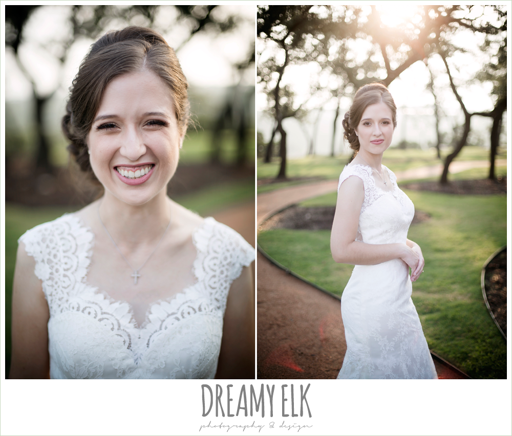 bride, wedding hair updo without veil, lace queen anne wedding dress, outdoor summer bridal photo, canyonwood ridge wedding venue, dripping springs, texas {dreamy elk photography and design} austin wedding photographer