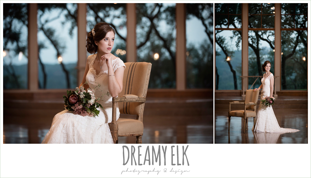 bride, wedding hair updo without veil, lace queen anne wedding dress, indoor summer bridal photo, canyonwood ridge wedding venue, dripping springs, texas {dreamy elk photography and design} austin wedding photographer