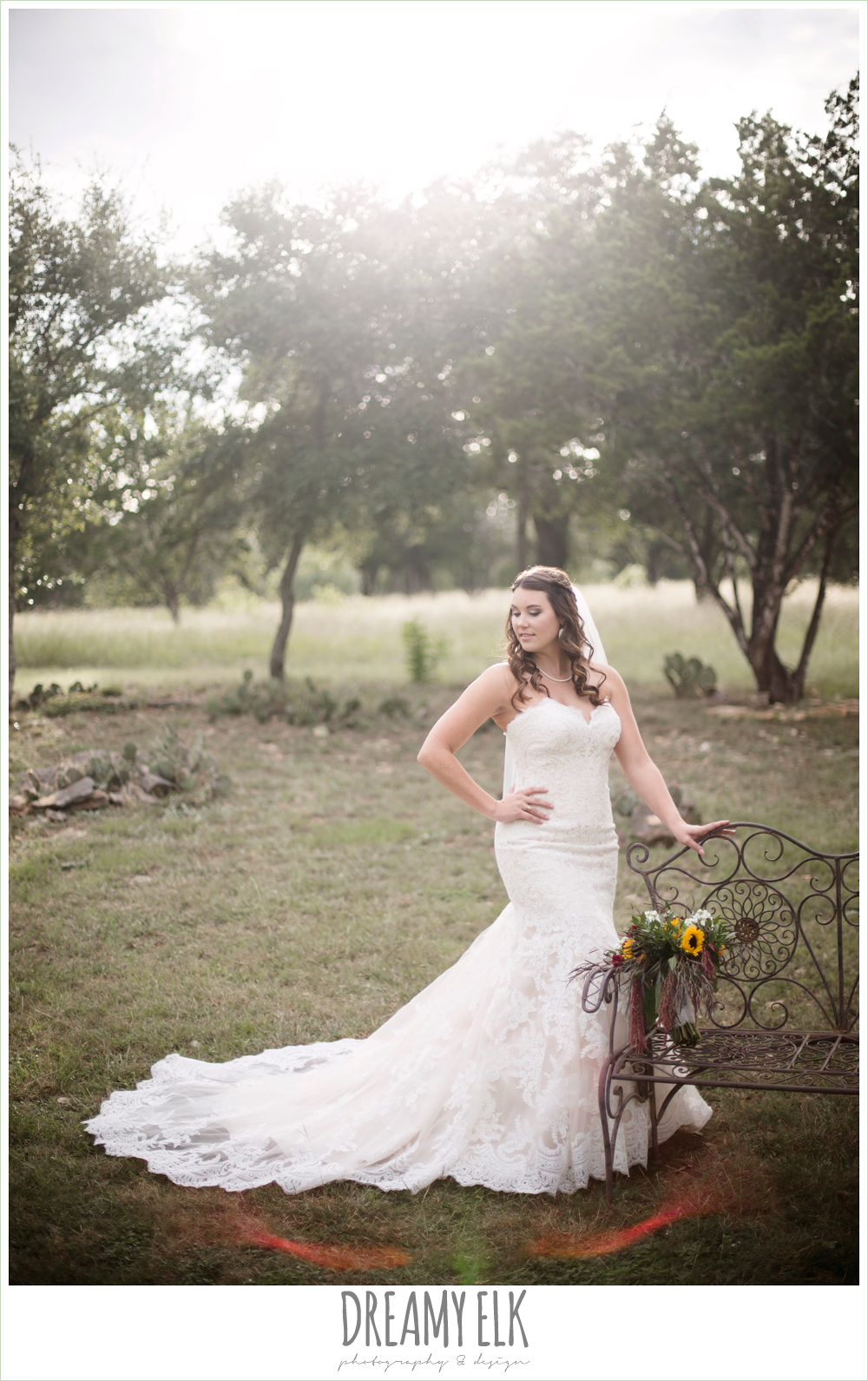 flower crown, sunflower fall bouquet, sweetheart strapless lace fit and flare wedding dress, wedding hair down, outdoor september bridal photo, la hacienda, dripping springs, texas {dreamy elk photography and design}