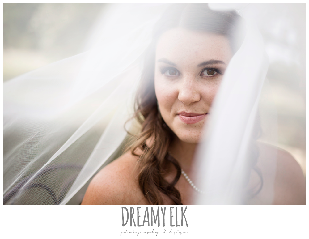bride under veil, sweetheart strapless lace fit and flare wedding dress, wedding hair down, outdoor september bridal photo, la hacienda, dripping springs, texas {dreamy elk photography and design}