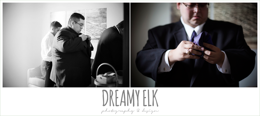 groom getting dressed, purple and gold wedding, fall rainy wedding, canyonwood ridge, dripping springs, texas, photo {dreamy elk photography and design}