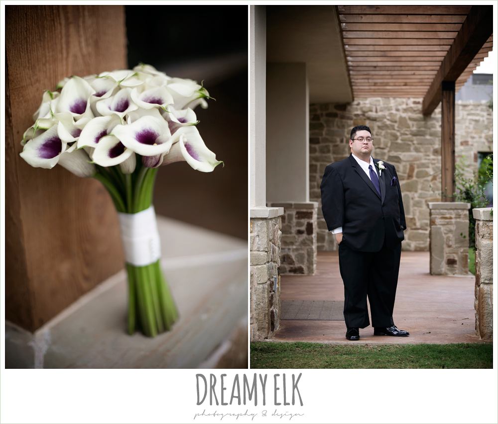 calla lily wedding bouquet, purple and gold wedding, fall rainy wedding, canyonwood ridge, dripping springs, texas, photo {dreamy elk photography and design}