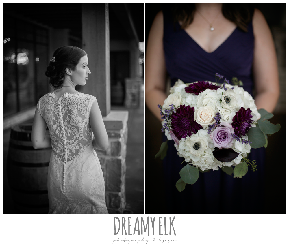 bride, lace back wedding dress, purple and white wedding bouquet, purple and gold wedding, fall rainy wedding, canyonwood ridge, dripping springs, texas, photo {dreamy elk photography and design}