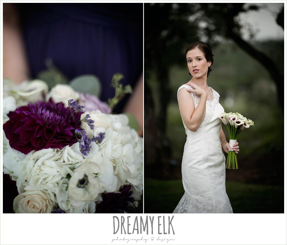 bride, lace wedding dress, purple and gold wedding, fall rainy wedding, canyonwood ridge, dripping springs, texas, photo {dreamy elk photography and design}