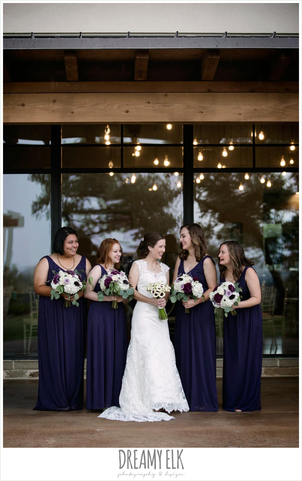 bride and bridesmaids, long dark purple bridesmaids dresses, purple and gold wedding, fall rainy wedding, canyonwood ridge, dripping springs, texas, photo {dreamy elk photography and design}