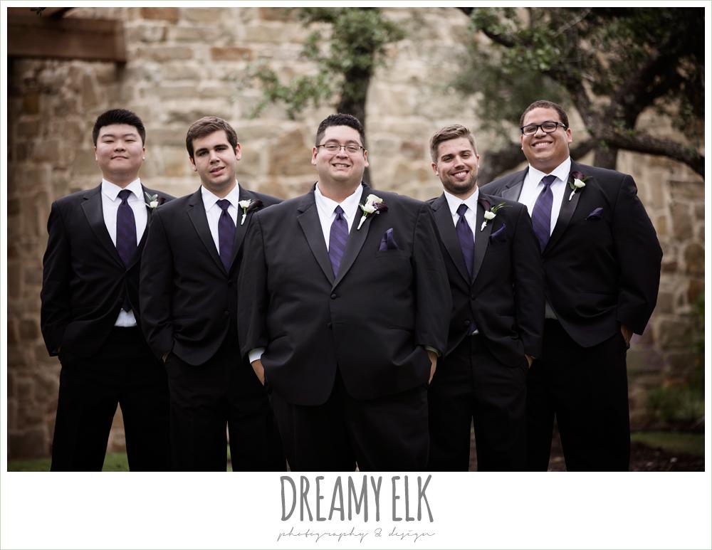 groom and groomsmen, purple and gold wedding, fall rainy wedding, canyonwood ridge, dripping springs, texas, photo {dreamy elk photography and design}