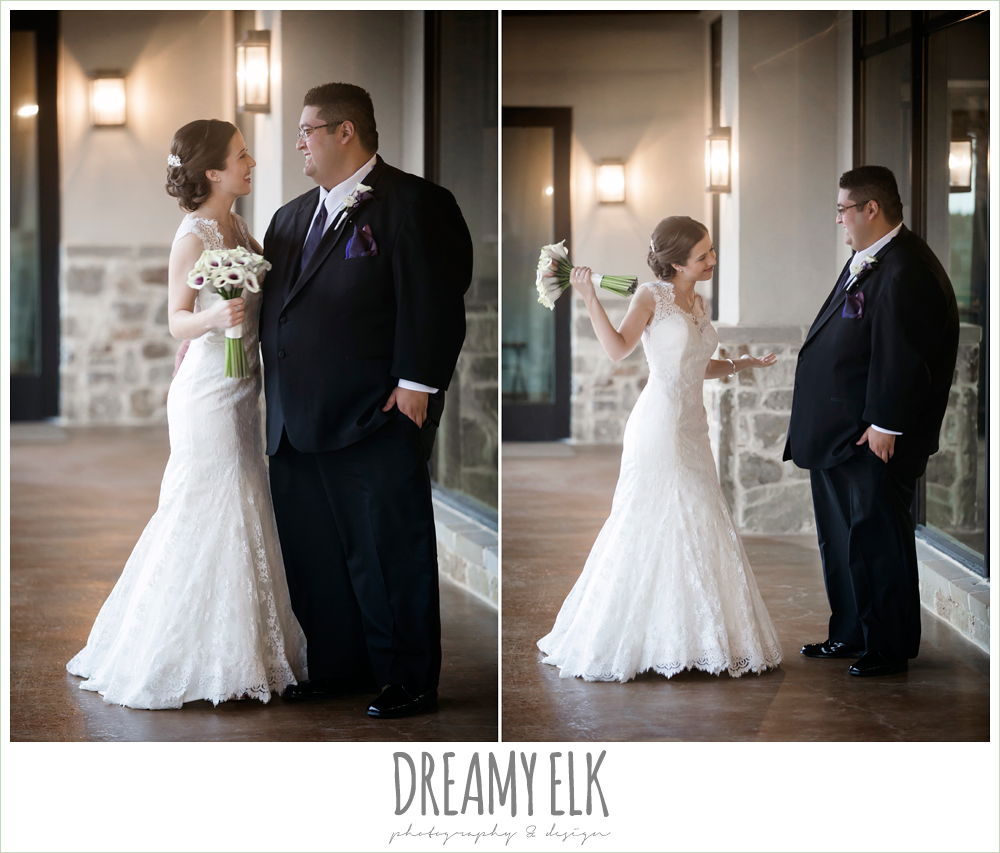 bride and groom first look, purple and gold wedding, fall rainy wedding, canyonwood ridge, dripping springs, texas, photo {dreamy elk photography and design}