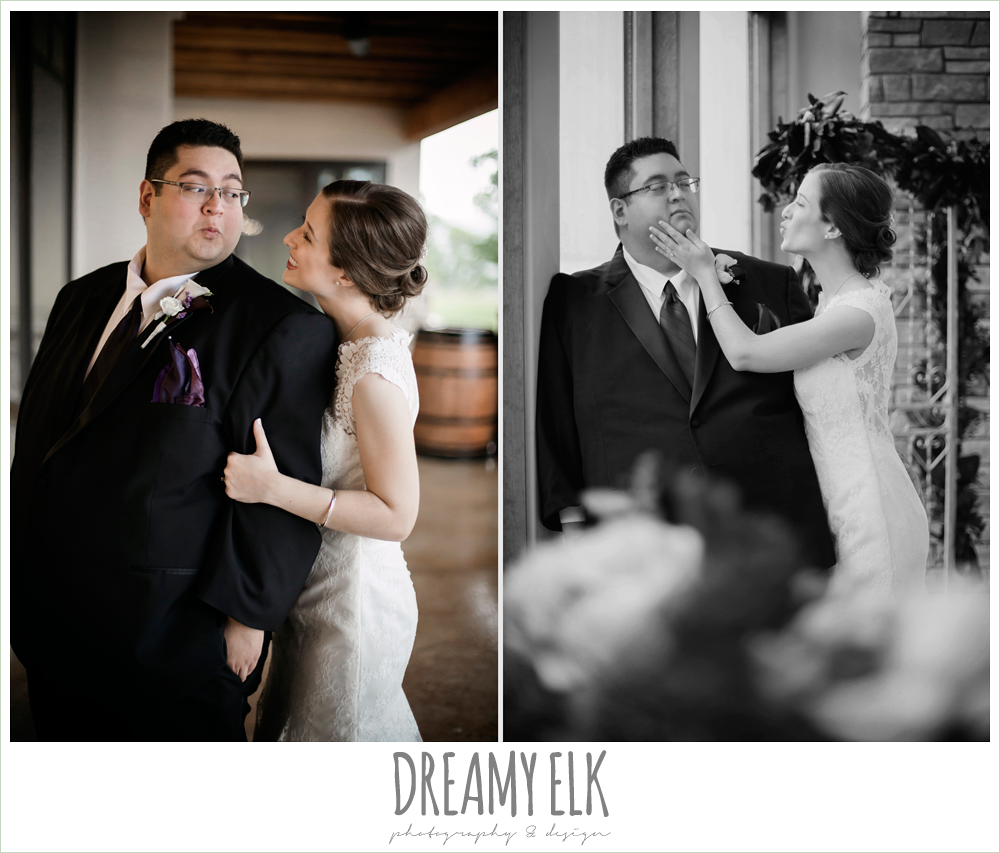 bride and groom portraits, lace wedding dress, purple and gold wedding, fall rainy wedding, canyonwood ridge, dripping springs, texas, photo {dreamy elk photography and design}