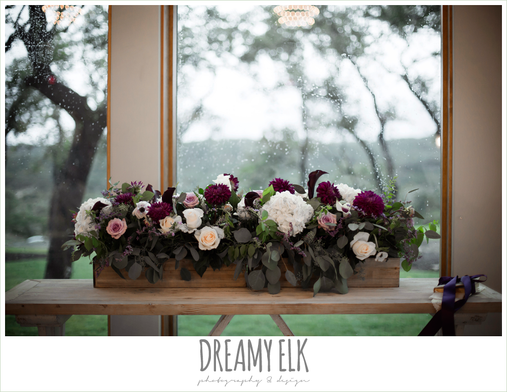 ceremony flowers, purple and gold wedding, fall rainy wedding, canyonwood ridge, dripping springs, texas, photo {dreamy elk photography and design}