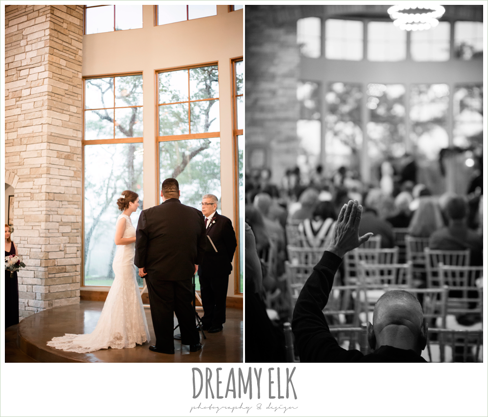 indoor wedding ceremony, purple and gold wedding, fall rainy wedding, canyonwood ridge, dripping springs, texas, photo {dreamy elk photography and design}