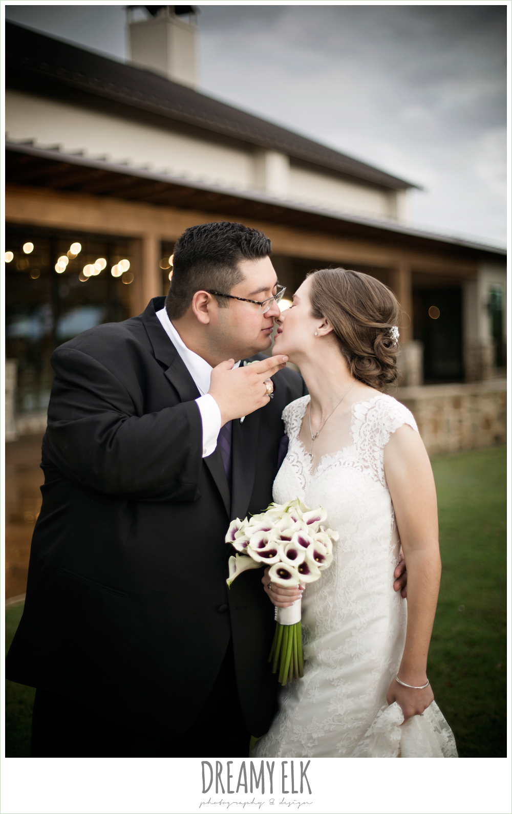 calla lily wedding bouquet, lace wedding dress, outdoor bride and groom portraits, purple and gold wedding, fall rainy wedding, canyonwood ridge, dripping springs, texas, photo {dreamy elk photography and design}