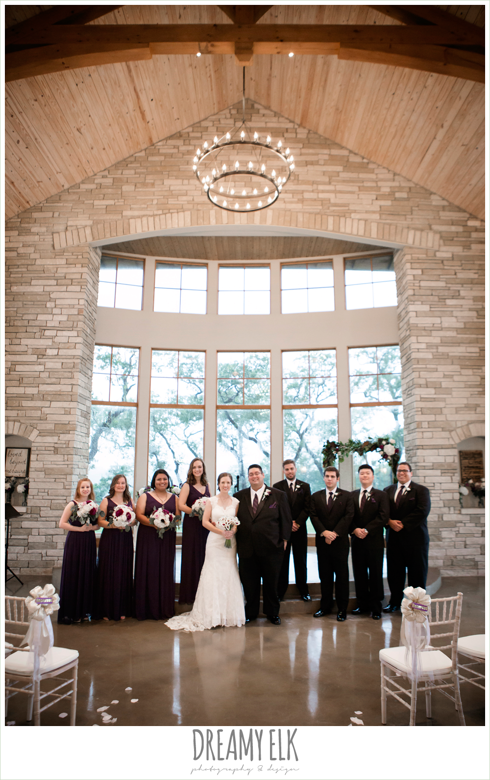 bridal party, long purple bridesmaids dresses, purple and gold wedding, fall rainy wedding, canyonwood ridge, dripping springs, texas, photo {dreamy elk photography and design}