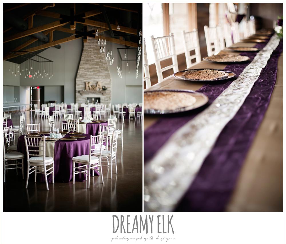 indoor wedding reception decor, purple and gold wedding, fall rainy wedding, canyonwood ridge, dripping springs, texas, photo {dreamy elk photography and design}