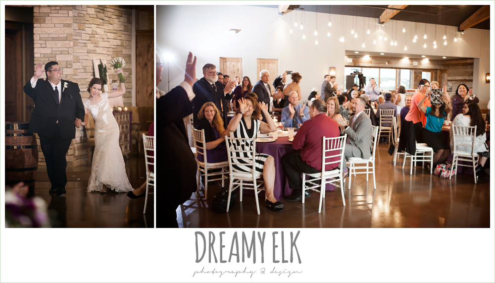 bride and groom entrance to reception, indoor wedding reception, purple and gold wedding, fall rainy wedding, canyonwood ridge, dripping springs, texas, photo {dreamy elk photography and design}