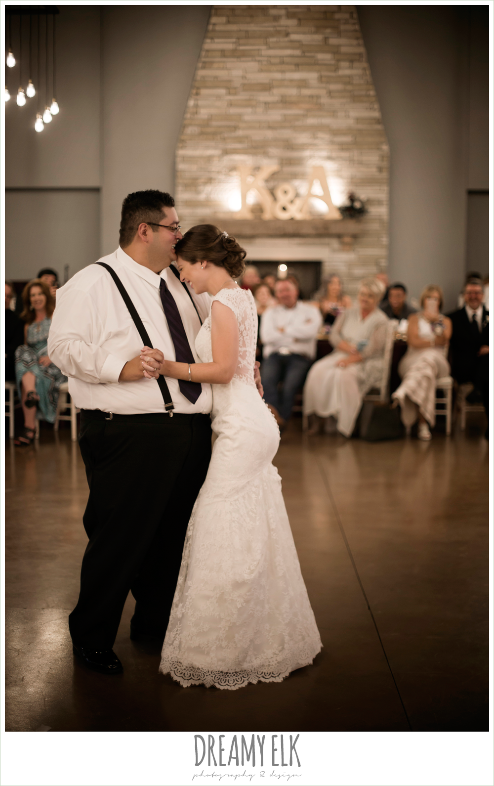 bride and groom first dance, indoor wedding reception, purple and gold wedding, fall rainy wedding, canyonwood ridge, dripping springs, texas, photo {dreamy elk photography and design}