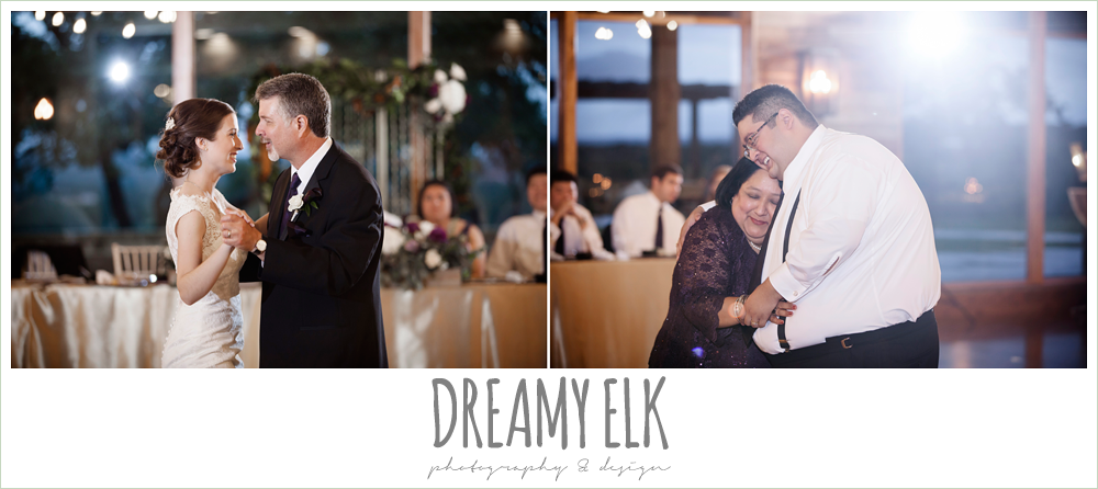 father daughter dance, mother son dance, indoor wedding reception, purple and gold wedding, fall rainy wedding, canyonwood ridge, dripping springs, texas, photo {dreamy elk photography and design}