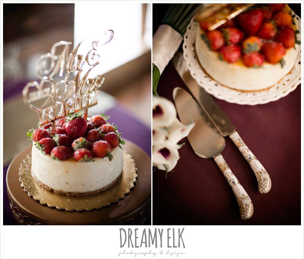 cheesecake wedding cake, indoor wedding reception, purple and gold wedding, fall rainy wedding, canyonwood ridge, dripping springs, texas, photo {dreamy elk photography and design}