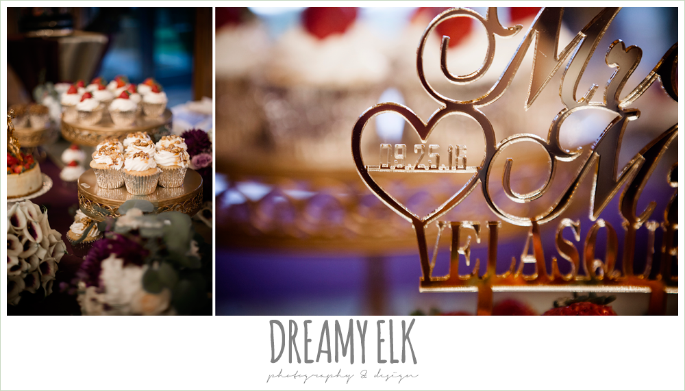 customized wedding cake topper, indoor wedding reception, purple and gold wedding, fall rainy wedding, canyonwood ridge, dripping springs, texas, photo {dreamy elk photography and design}